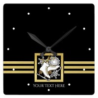 Ice | Figure Skating Black Faux Gold Modern Custom Square Wall Clock