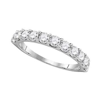 14kt White Gold Women's Round Pave-set Diamond Wedding Band Ring 1.00 Cttw - FREE Shipping (US/CAN)