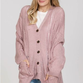 Button-Down Cardigan with Pockets