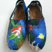 custom toms  the Little Mermaid TOMS shoes by michellehandpainted