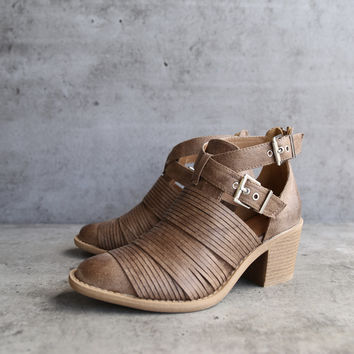 lust valley strappy cutout ankle bootie