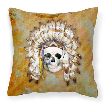 Day of the Dead Indian Skull Fabric Decorative Pillow BB5121PW1414