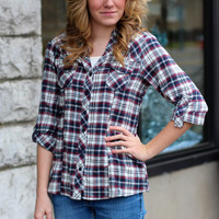 All About Plaid Top {Navy Mix}