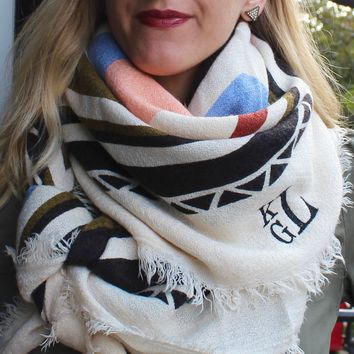 Monogrammed Blanket Scarf- Geometric Color Splash