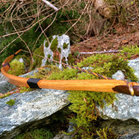 Traditional Longbow, Red Oak Wood with Black Walnut Limb tip Overlays, 40 pounds draw weight at 28 inches