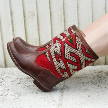 Brown leather vintage Navajo carpet boots from CustomVintage