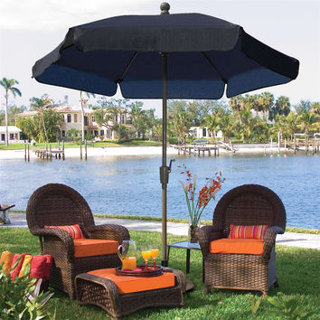 7.5-FT Patio Umbrella For Outdoor Garden With Tilt Navy Shade & Champagne Pole