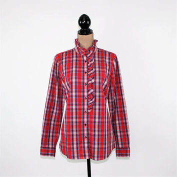 Women Red Plaid Shirt Medium Long Sleeve Button Up Top Ruffle High Neck Cotton Blouse Casual Red Checked Shirt Long Top GAP Womens Clothing