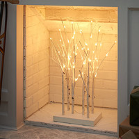 LED Lighted Birch Branches Warm White Standing Decoration Garden Winter NEW