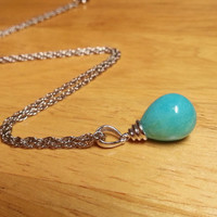 Sterling Silver Amazonite Necklace - Blue Gemstone Necklace, Mothers Day Gift, Tiffany Blue Necklace, Blue Amazonite Pendant Necklace