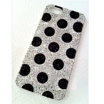 Handmade Bling sparkle diamond crystal  Rhinestone iPhone 6 6 plus case iPhone 5 5s 5c case clear black dot samsung s5 note2 note 3 4 CASE