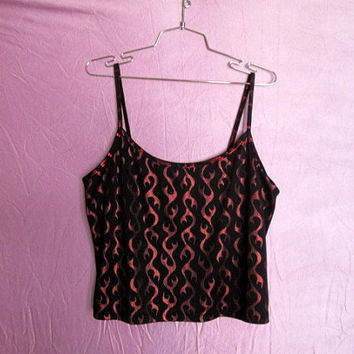 90s Flame Print Cropped Tank Top