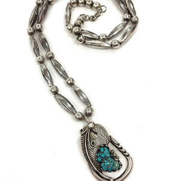 Native American Sterling & Turquoise Pendant Necklace, Sterling Beaded Necklace, Turquoise Feather Pendant, Navajo Southwestern, Vintage