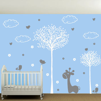 Wall Decal Vinyl Sticker Art Decor Design tree branch bird flower giraffe animals clouds forest child nursery  kids baby set gift (m1391)