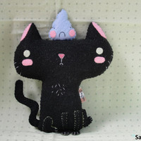 Kuro Neko (Black Cat) plushie w/magnetic Monsieur Bleu Pupu (Mr.Blue-Pupu) plushie set