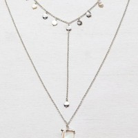 AEO Women's Tiered Abalone & Horn Necklace (Silver)