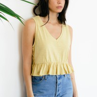 Peplum Tank Top - Yellow