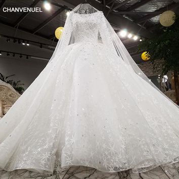 LSS003 Luxury long sleeves wedding dress beading ball gown lace up lace ivory bridal wedding gowns with long veil real photos