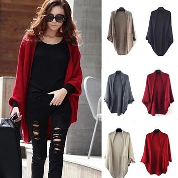 2018 Autumn Cardigan Asymmetrical Oversized Batwing Sleeve Knitted Sweater Women Plus Size Loose Cardigan Streetwear Coat Shawl