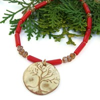 Tree of Life Handmade Pendant Necklace Red Coral Copper Czech Glass