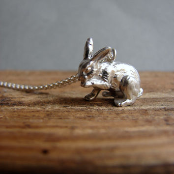 Silver Bunny Necklace, Bunny Jewelry, Animal Jewelry Animal Necklace, Rabbit Necklace, Rabbit Jewelry, Bunny Pendant, Hare Jewelry