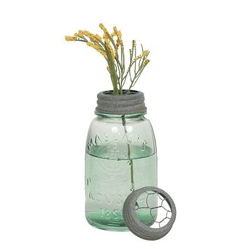 Set of 4 Midget Pint Mason Jars with Chicken Wire Flower Frogs - Barn Roof