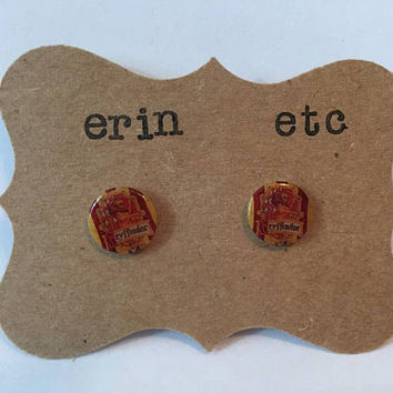 Handmade Plastic Fandom Earrings - House Gryffindor