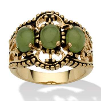 PalmBeach Oval Shaped Green Jade 14k Yellow Gold-Plated Antique-Finish Triple-Stone Filigree Ring Naturalist | Overstock.com Shopping - The Best Deals on Gemstone Rings