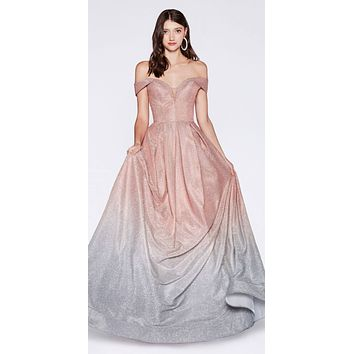 Floor Length Off The Shoulder Gown Glitter Rose Gold Ombre Pockets