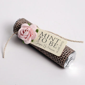 "Set of 24 Mint Wedding Favors with Personalized ""Mint to be"" tag - burlap,"