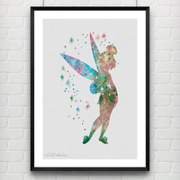 Tinker Bell Disney Fairy Watercolor Print, Peter Pan, Baby Girl Nursery Room Art Minimalist Home Decor Not Framed, Buy 2 Get 1 Free! [No 43]