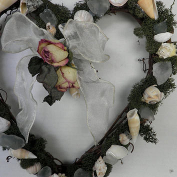 Beach Theme Heart Wreath with Seashells and Sea Glass