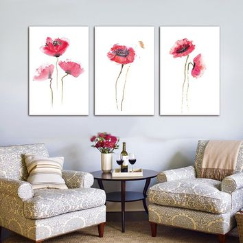Frameless Simple Canvas Painting Print 3pcs Natural Elegant Flower Wall Art Pictures for Living Room Bedroom Home Office Artwork