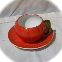 Unusual Sweet Porcelain Pumpkins cup and saucer