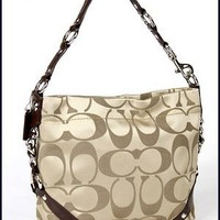 Coach Signature 24cm Sateen Carly Duffle Hobo Shoulder Bag Purse 15250 Khaki