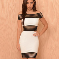 Off-shoulder Striped Bodycon Mini Dress