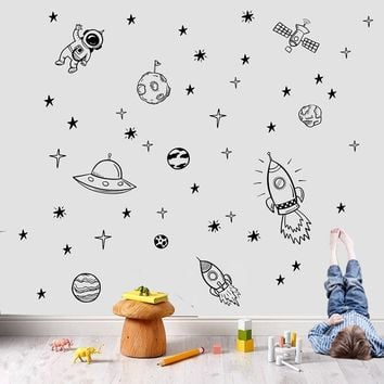 Rocket Ship Astronaut Creative Vinyl Wall Sticker For Boy Room Decoration  Outer Space Wall Decal Nursery 3df7b20c3a