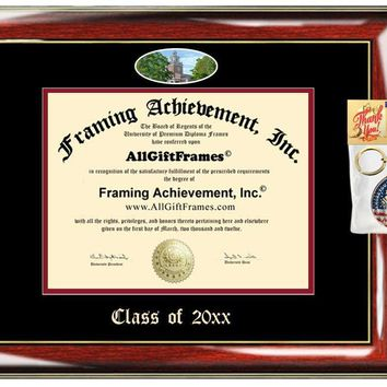 AllGiftFrames Custom Diploma Frame Denison University Embossed Best Graduation Degree Frame Double Mat Campus Fisheye Picture Frame Cheap Degree Graduate Gift