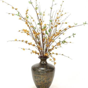 Gold Peach Blossom, Natural Birch Branches In Aged Tortoise-finish Urn