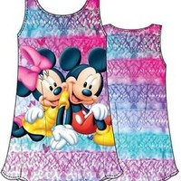 Girls Disney Mickey & Minnie Mouse Dress, Sublimated Tie Dye Tank Top Dresses