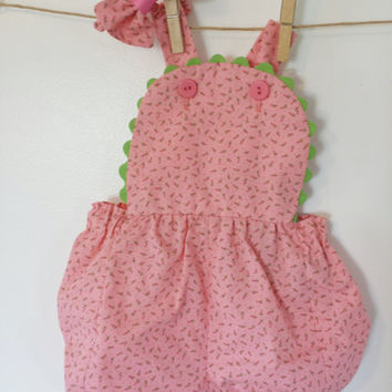 Girls Baby Infant Newborn Sunsuit Pink Rosebud One pc. Children Birthday Photo Prop Handmade OOAK Vintage Inspired by MYSWEETCHICKAPEA