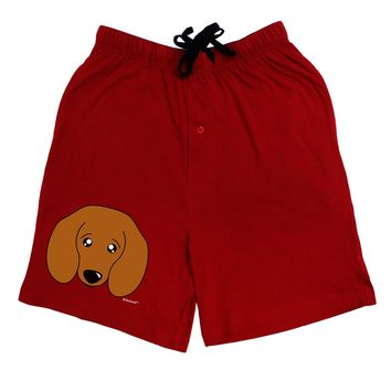Cute Doxie Dachshund Dog Adult Lounge Shorts - Red or Black by TooLoud