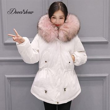 New Hooded Elastic Real Fur Collar Winter Down Coat Thick Warm Slim Women Fashion Down Coat Mujer Casaco Feminino Female Jacket