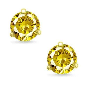 Martini Round Cut Canary CZ 14k Yellow Gold Sterling Silver Stud Earrings New