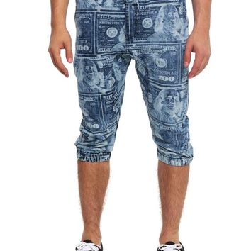 Men's Money Print Denim Jogger Shorts JC385 - I4H