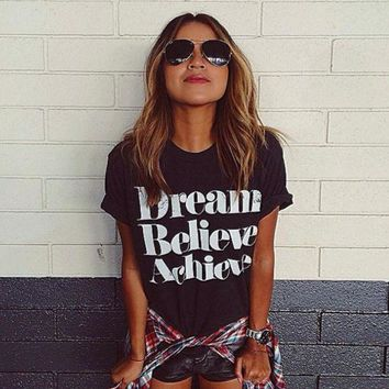 ESBONPR Fashion Dream Believe Achieve Print Loose Short Sleeve T Shirt