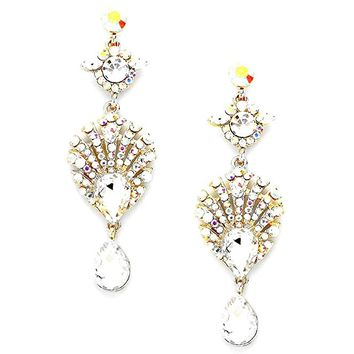 "3"" Long Ab Austrian Crystal Silver Statement Earrings Drag Queen Pageant Jewelry"