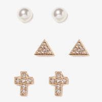 Cross, Triangle & Bead Stud Set