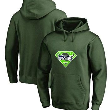 Men's Winter Seahawks Fans Hoodies New Design Seattle Sweatshirts Superman S Logo Picture Print Fashion Tops O-neck Pullover