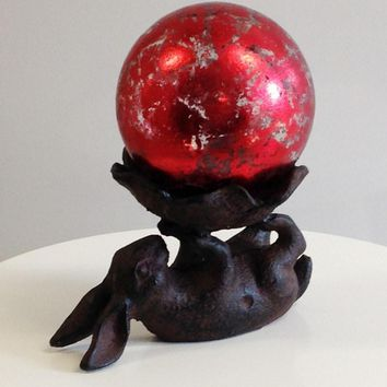 "Cast Iron Bunny with 4"" Red Leaf Glass Gazing Globe"